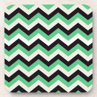 Chevron 02 zigzag black aqua drink coaster