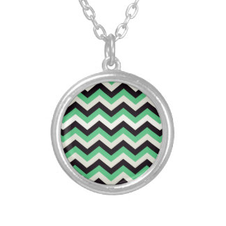 Chevron 02 zigzag black aqua pendant