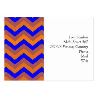 chevron 02 zigzag blue orange business card templates
