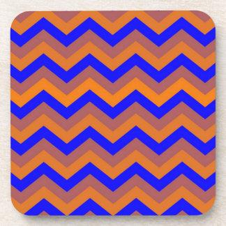 chevron 02 zigzag blue orange drink coasters
