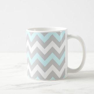 Chevron #5 - Pale Blue, Gray And White Mug
