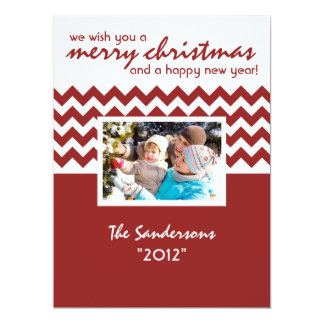 Chevron Accent Family Holiday Flat Card 17 Cm X 22 Cm Invitation Card