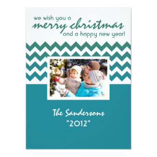 Chevron Accent Family Holiday Flat Card Blue Personalized Announcement