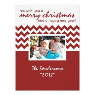 Chevron Accent Family Holiday Flat Card Announcements