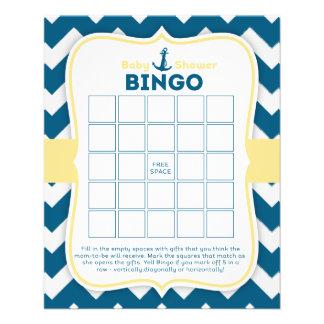 Chevron Anchor Nautical Baby Bingo Card