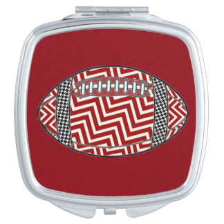 Chevron and houndstooth football compact mirrors