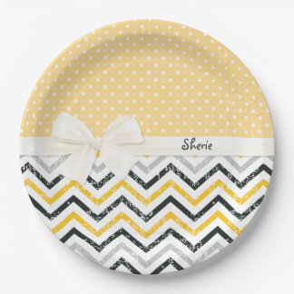 Chevron and Polka Dots 9 Inch Paper Plate