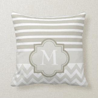 Chevron and stripes monogrammed throw pillow