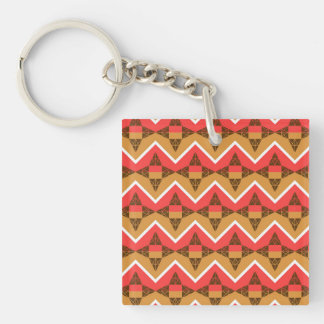 Chevron and triangles Double-Sided square acrylic key ring