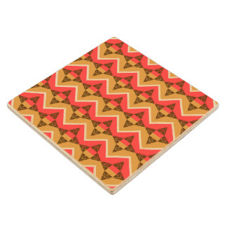 Chevron and triangles wood coaster