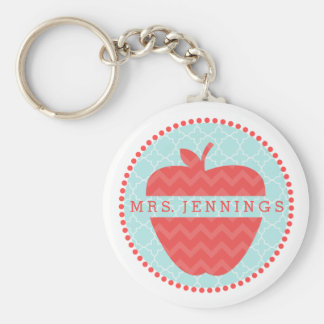 Chevron Apple Quatrefoil Teacher Keychain