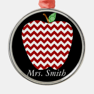 Chevron Apple Teachers Gift Metal Ornament