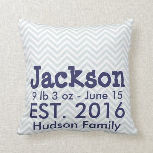 Chevron Baby Name Birth Stats Pillow | Navy Blue