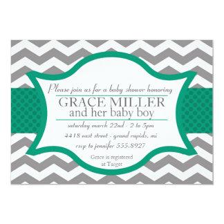 Chevron Baby Shower invite. Gray and Jade Card