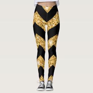 Chevron Balck Gold Pattern Print Design Leggings