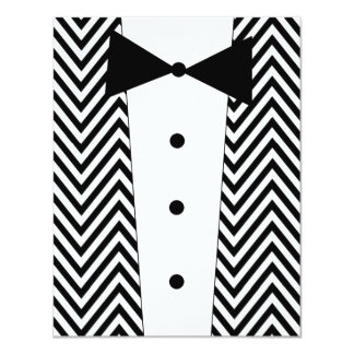 Chevron Black and White Tuxedo Invitation