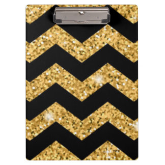 Chevron Black Gold Diamonds Clipboard