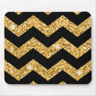 Chevron Black Gold Diamonds Mouse Pad