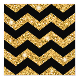 Chevron Black Gold Diamonds Photo Print