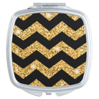 Chevron Black Gold Diamonds Travel Mirror