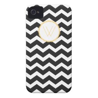 Chevron Blackberry Case--Black & White (Monogram) iPhone 4 Case-Mate Case