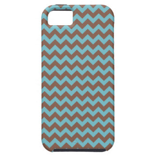 Chevron Blue Curacao And Coffee Brown iPhone 5 Cover