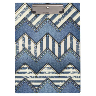 Chevron Blue Jean Pattern Print Design Clipboard