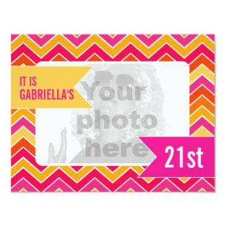 """Chevron bright photo 21st birthday party invite 4.25"""" x 5.5"""" invitation card"""