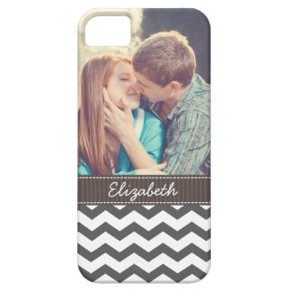 Chevron Charcoal Gray Zigzag Stripes Personalized iPhone 5 Case