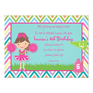 Chevron Cheer Party Invitation- Brunette/Brown Hai Card