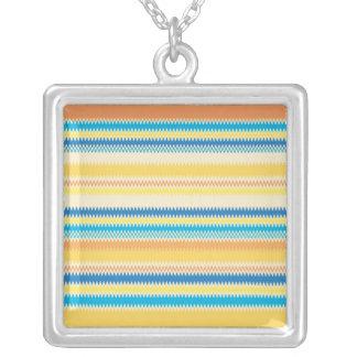 Chevron Colorful Zigzag Stripe Decorative Square Pendant Necklace