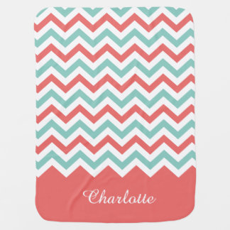 Chevron Coral and Aqua Custom Name Baby Blanket