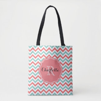 Chevron Coral and Aqua Custom Name Tote Bag