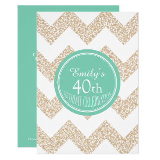 Chevron Custom 40th Birthday Choose Color Invite