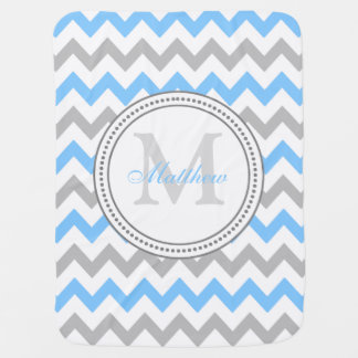 Chevron Custom Monogram Receiving Baby Blanket