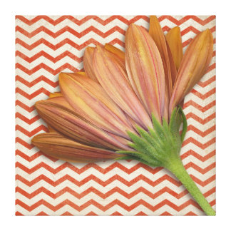Chevron Daisy Floral ZigZag Pattern Canvas Print