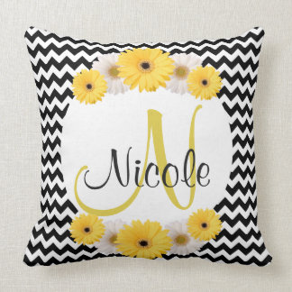 Chevron Daisy Monogram Black White Yellow Throw Cushion