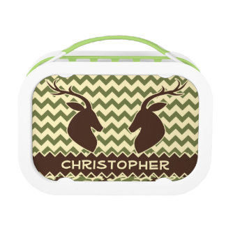 Chevron Deer Buck Camouflage Personalize Lunch Box