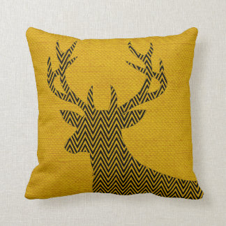 Chevron Deer Silhouette on Burlap | mustard Cushion