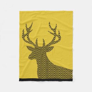 Chevron Deer Stag Silhouette | gold black Fleece Blanket
