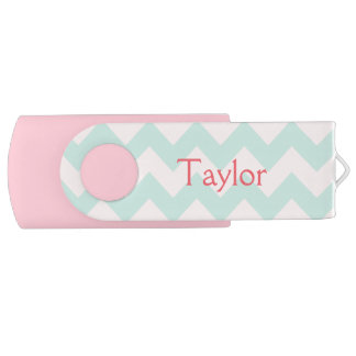 Chevron Design Pink and Green USB Flash Drive