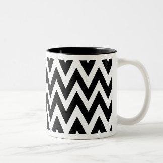 Chevron Dreams black and white Coffee Two-Tone Mug