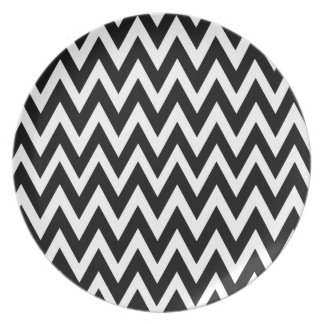Chevron Dreams black and white Party Plates