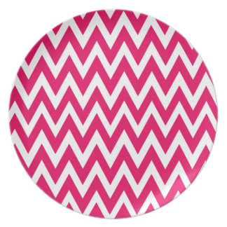 Chevron Dreams fuschia and white Party Plate