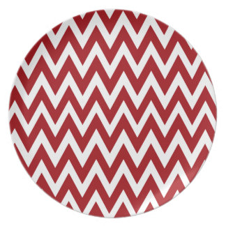 Chevron Dreams red and white Party Party Plate