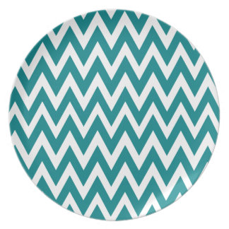 Chevron Dreams teal and white Party Party Plates