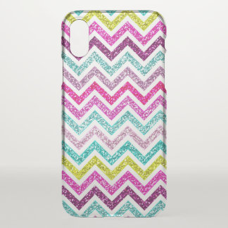 Chevron Faux Glitter Rainbow Coloful Girly Bling iPhone X Case