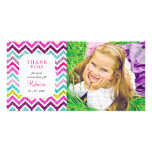 Chevron Faux Glitter Rainbow Thank you Personalised Photo Card