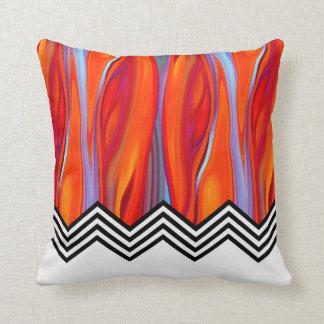 Chevron Flame | red orange blue lilac black white Cushion