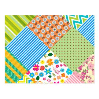 Chevron Floral striped pattern Postcard